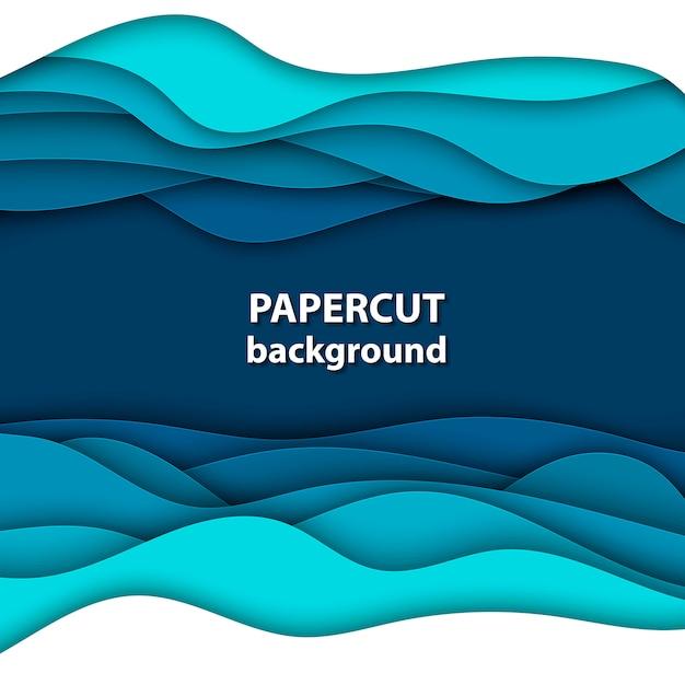 Hintergrund mit blauem und weißem farbpapierschnitt Premium Vektoren