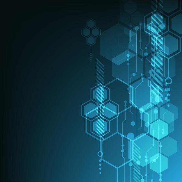 Hintergrund mit blauen hexagones Kostenlosen Vektoren