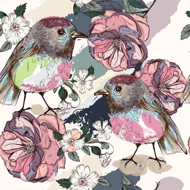 Hintergrund mit blumen und vögeln Premium Vektoren