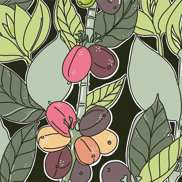 Hintergrund mit buntem blumenmuster. kaffeebohnen und blätter. grüne farben dunkler hintergrund Premium Vektoren