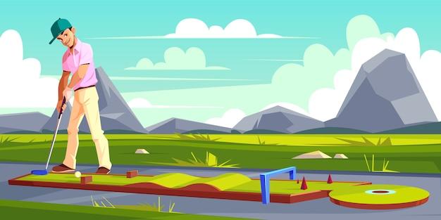 Hintergrund mit dem mann, der golf auf grünem gras spielt. Kostenlosen Vektoren