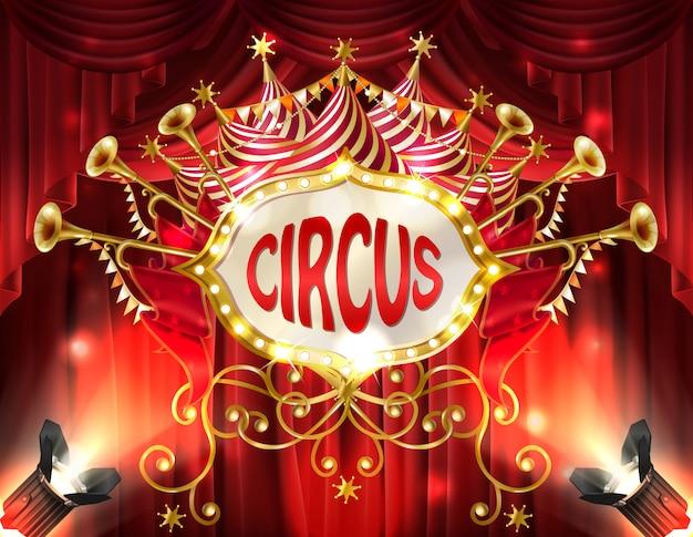 Hintergrund mit dem zirkusschild belichtet mit scheinwerfern und roten vorhängen, goldene trompete Kostenlosen Vektoren