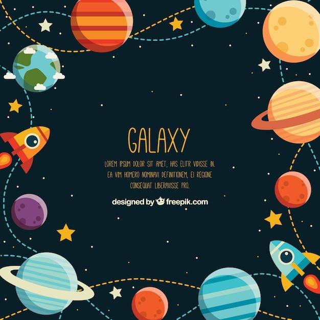 Hintergrund mit farbigen planeten und raketen in flachem design Kostenlosen Vektoren