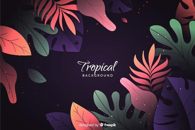 Hintergrund mit farbverlauf mit tropischen blättern Kostenlosen Vektoren