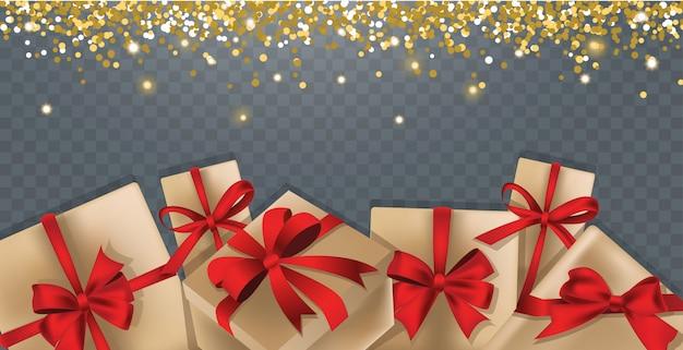Hintergrund mit geschenkboxen und goldfunkeln Premium Vektoren