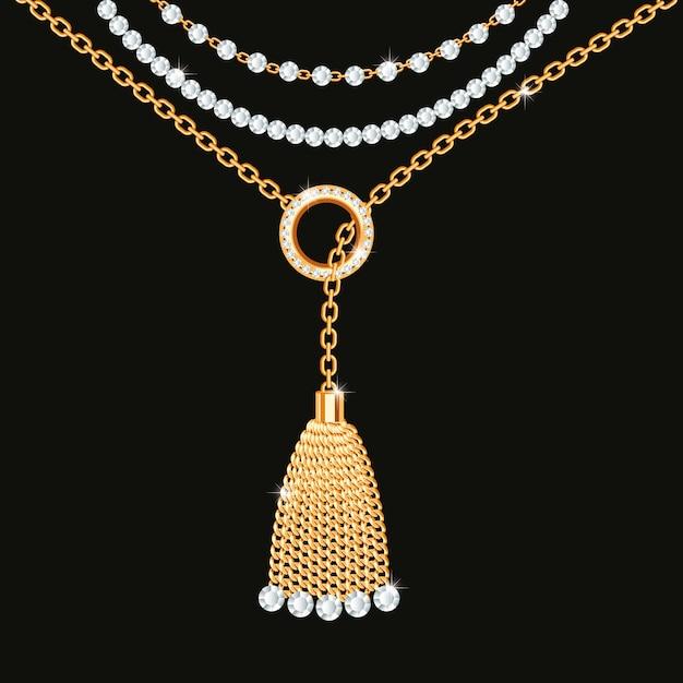 Hintergrund mit goldener metallischer halskette Premium Vektoren