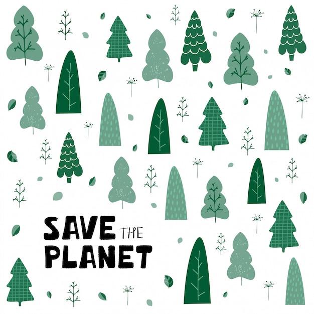 Hintergrund mit grünen bäumen, blättern und handbeschriftung retten den planeten in der karikaturart Premium Vektoren