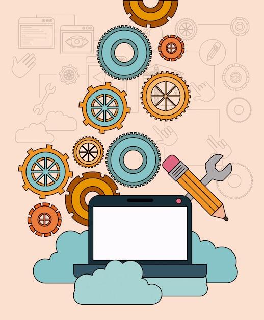Hintergrund mit laptop-computer und speicherwolkenservice Premium Vektoren