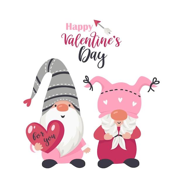 Hintergrund mit liebeszwergen mit herz für valentinstag. illustration für grußkarten, weihnachtseinladungen und t-shirts Premium Vektoren