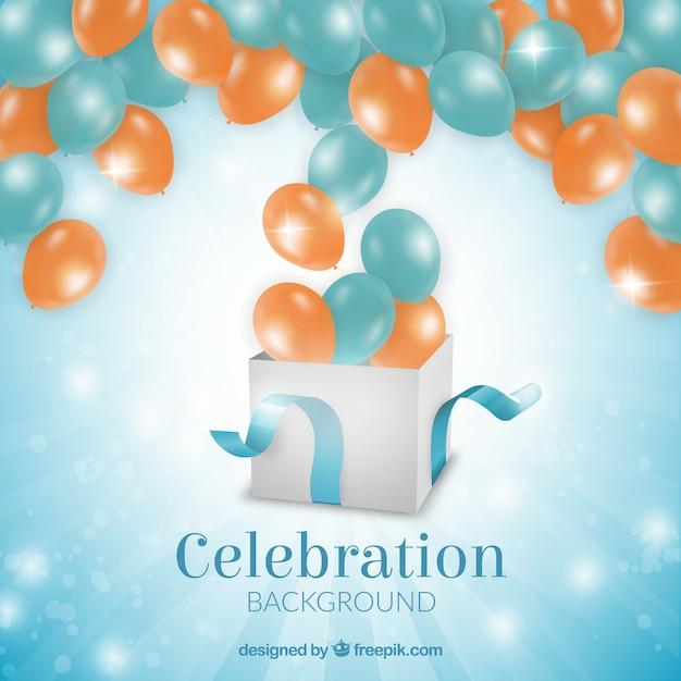 Hintergrund mit luftballons geburtstag ein geschenk aus der kommenden Kostenlosen Vektoren