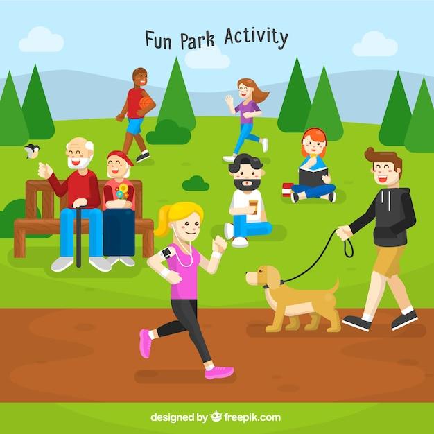 Hintergrund mit Menschen im Park Kostenlose Vektoren
