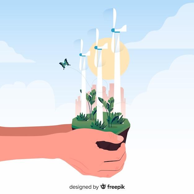 Hintergrund mit ökologie und wiederverwertungskonzept Kostenlosen Vektoren