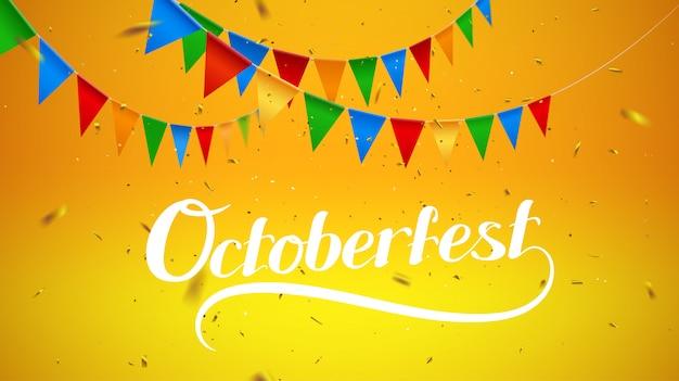 Hintergrund mit oktoberfestbeschriftung, feiertagsgirlandenfahnen der bayerischen karierten gelben flagge Premium Vektoren