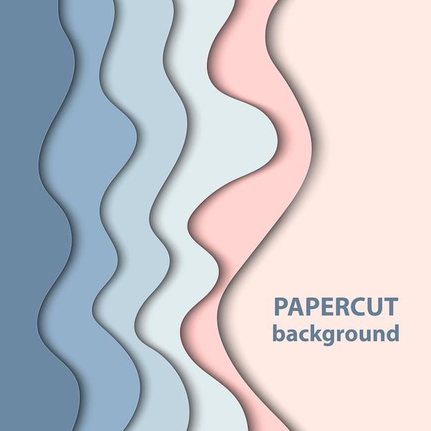 Hintergrund mit pastellblau- und rosenpapierschnitt Premium Vektoren