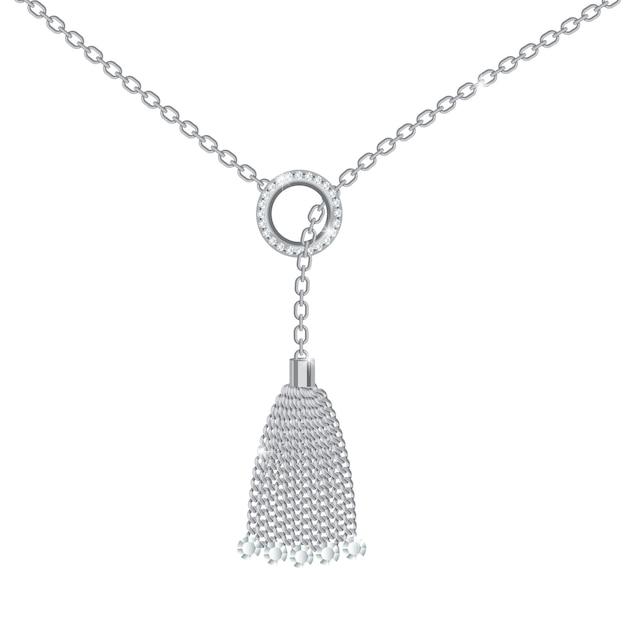Hintergrund mit silberner metallischer halskette Premium Vektoren