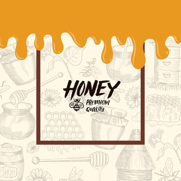 Hintergrund mit skizzierten honigelementen, tropfende honigfahnenillustration Premium Vektoren