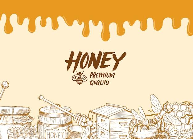 Hintergrund mit skizzierten konturierten honigthemaelementen, tropfendem honig und platz für textillustration Premium Vektoren