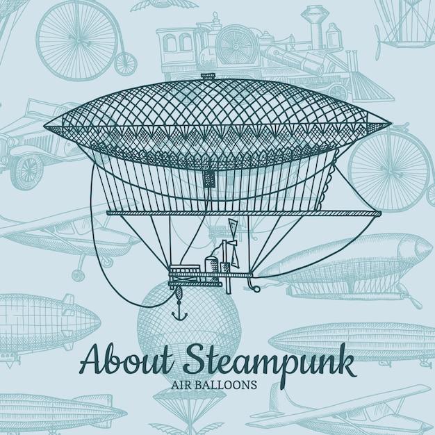 Hintergrund mit steampunk hand gezeichneten luftschiffen, luftballons, fahrrädern und autos mit platz für text. luftballon- und luftschifftransport, flug und reiseillustration Premium Vektoren