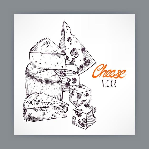 Hintergrund mit verschiedenen appetitlichen skizzenkäsen. handgezeichnete illustration Premium Vektoren