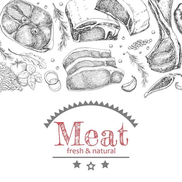 Hintergrund mit verschiedenen fleischerzeugnissen Premium Vektoren