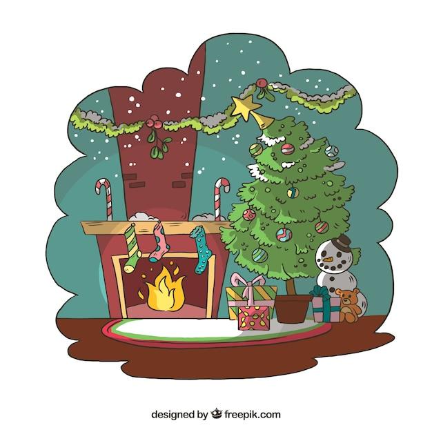 Hintergrund mit Weihnachten Hand gezeichnet Wohnzimmer | Download ...