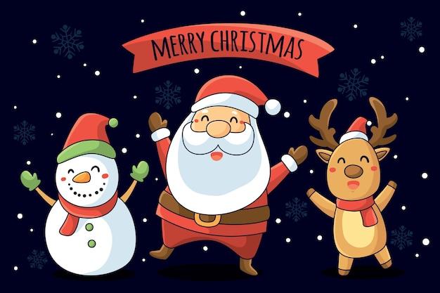 Hintergrund mit weihnachtsmotivcharakteren Kostenlosen Vektoren