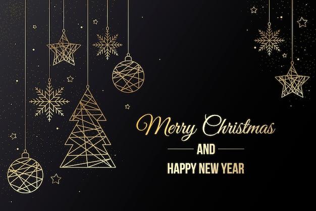 Hintergrund mit weihnachtsschmuck und schriftzug Premium Vektoren