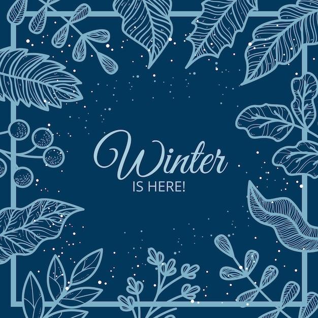 Hintergrund mit winterblättern und winter ist hier nachricht Kostenlosen Vektoren