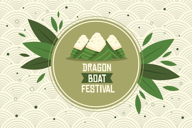 Hintergrund mit zongzi für drachenboot Kostenlosen Vektoren