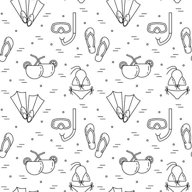 Hintergrund reisen. nahtloses muster mit badeanzug, flossen, cocktail, tauchmaske. flache linie kunst. vektor-illustration konzept für die reise, tourismus, reisebüro, hotels website wallpaper wrap Premium Vektoren