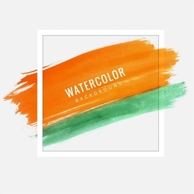 Hintergrund-textur, Orange Und Grün Aquarell Mit Einem
