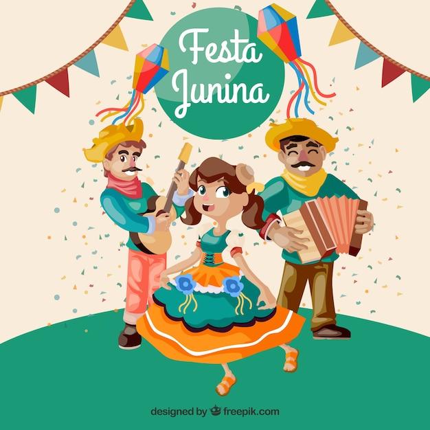 Hintergrund von festa junina mit den tanzenden und spielenden leuten Kostenlosen Vektoren