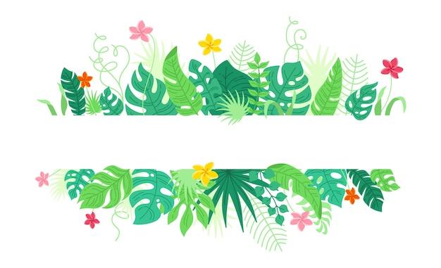 Hintergrund von tropischen blättern und blumen, karikaturart. trendiger hawaiianischer rahmen. tropische regenwaldlaubgrenze mit monstera, bananenblättern Premium Vektoren