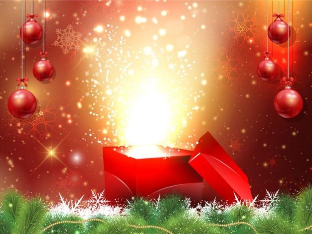 hintergrund weihnachten mit geschenk box und kugeln. Black Bedroom Furniture Sets. Home Design Ideas
