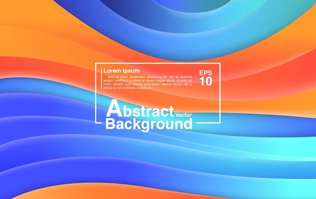 Hintergrund-zusammenfassung von der flüssigen form-zusammensetzung. hintergrund und tapete bunte blaue orange. Premium Vektoren