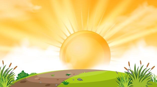 Hintergrunddesign der landschaft mit sonnenuntergang über hügel Premium Vektoren