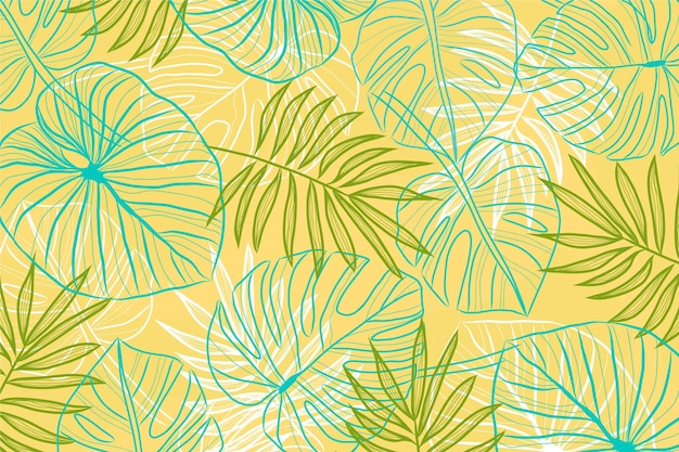 Hintergrunddesign der linearen tropischen blätter Kostenlosen Vektoren