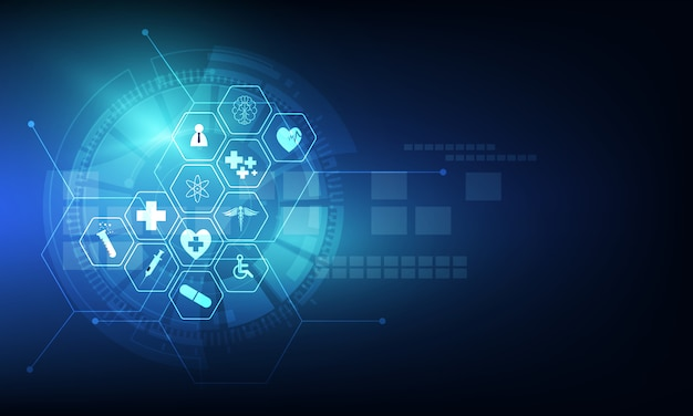Hintergrunddesign der medizinischen innovation des gesundheitswesenikonenmusters Premium Vektoren