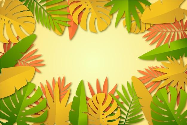 Hintergrunddesign des tropischen blattes Kostenlosen Vektoren