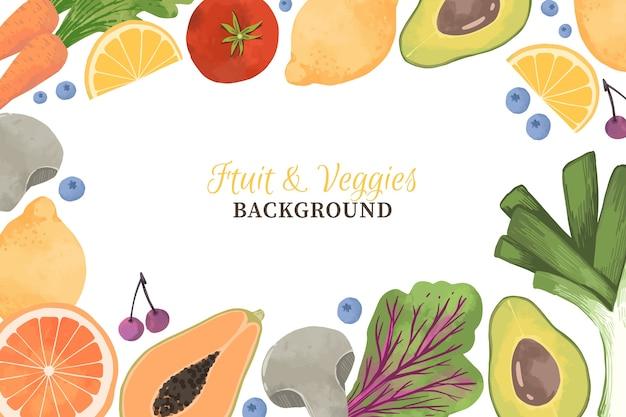 Hintergrunddesign design von gemüse und früchten Kostenlosen Vektoren