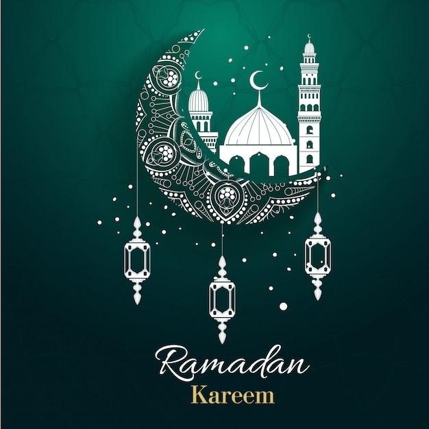Hintergrunddesign für muslimisches festival eid mubarak. arabischer kalligraphiedesign für ramadan kareem, weißes moscheenelement. eid-al-adha-gruß Premium Vektoren