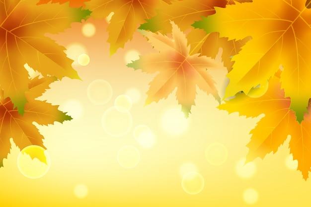 Hintergrundherbst mit fallenden blättern. gelbes und braunes buntes laub Premium Vektoren