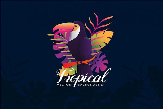 Hintergrundillustration mit tropischem tukanthema Premium Vektoren