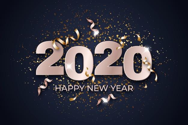 Hintergrundkonzept 2020 des neuen jahres des konfettis Kostenlosen Vektoren