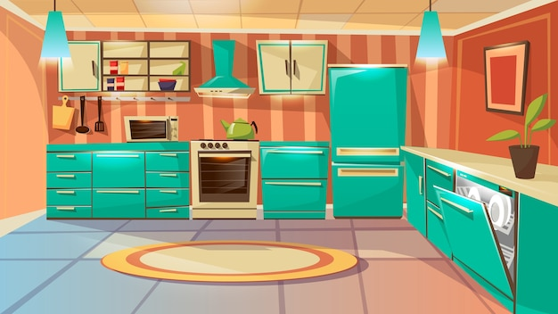 Hintergrundschablone der modernen küche innen. cartoon abendessen zimmer mit möbeln Kostenlosen Vektoren