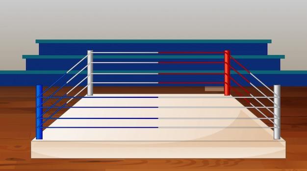 Hintergrundszene des boxrings mit stadion Kostenlosen Vektoren