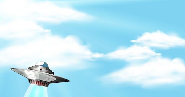 Hintergrundszene mit blauem himmel und ufo Premium Vektoren