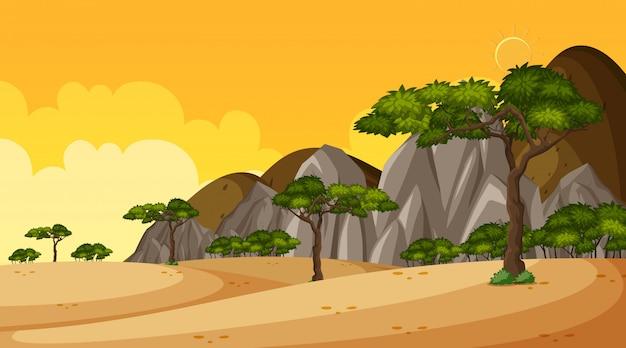 Hintergrundszene mit vielen bäumen im park Premium Vektoren