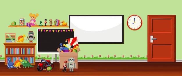 Hintergrundszene mit whiteboard und spielwaren Kostenlosen Vektoren