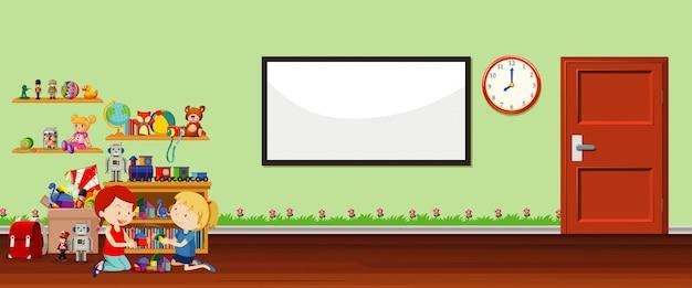 Hintergrundszene mit whiteboard und spielzeug Kostenlosen Vektoren